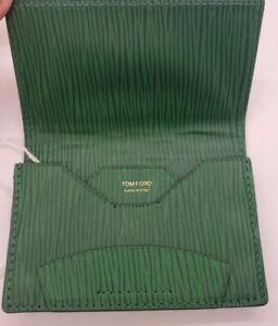 """TOM FORD Flap Over CARD WALLET Green Embossed Leather ITALY MSRP $250 """"NWOT""""."""
