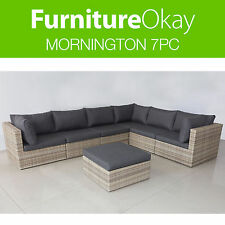 Mornington 7pc Outdoor Garden Lounge Sofa Sandstone Wicker Furniture Setting