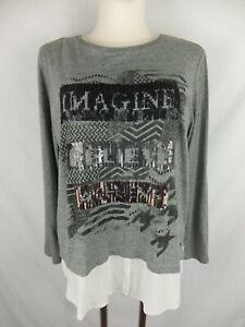 CECIL Langarm Shirt - 42 - Lagenlook - Pailletten -weiss grau schwarz - TOP