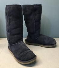 UGG Classic Tall Navy Blue Suede Sheepskin Lining Womens Boots Sz 8