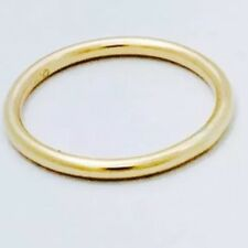 9ct Yellow Gold Plain Round Wire Band Stackable Ring 1.6mm Thick not plated