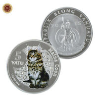 WR Vanuatu 5 Vatu Maine Coon Cat SILVER Coin Mint Novelty Gift For Her Lovers