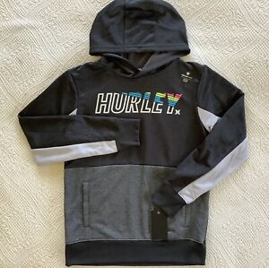 HURLEY Boys Black Hooded Zip Up Cardigan sizes 12 13 years rrp £50 New
