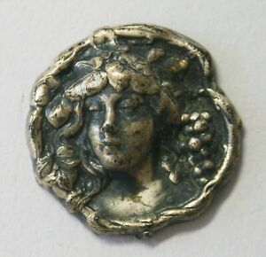 Art Nouveau Antique Woman Antique Silver High Relief  Button