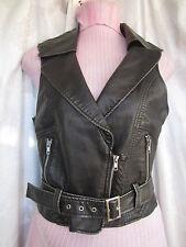XXI Black Motorcycle  Vest Pleather Size M/M (HH)