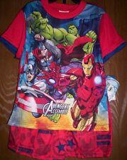 Avengers Assemble Red Pajamas Boy's 8 NeW Marvel Shirt Shorts Pjs Ironman Hulk