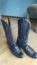 Vintage NACONA Cowboy Boot Black Leather Classic Style Size 9 D