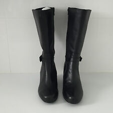 'TS-TAKING SHAPE' BNWT SIZE '6' (37)  BLACK LEATHER 3/4 HEIGHT WEDGE HEEL  BOOT
