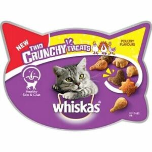 Whiskas Trio Crunchy Cat Treats Tasty Crunchy for Adult Cats Poultry Flavour 55g
