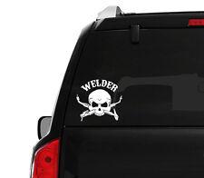 "(2x) 5"" Welder Skull Bone Emblem Decal Sticker Mig Tig Arc Torch Welding Fitter"