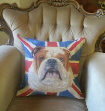 SMASHER UNION JACK FLAG BRITISH BULLDOG TAPESTRY CUSHION PILLOW COVER ONLY