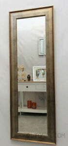 Full Length Antique Silver Gold Classic Wood Frame Wall Mirror Bevelled 132x46cm