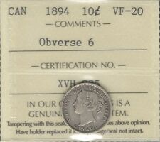 1894 Ten Cents ICCS Graded VF-20 HIGH Grade KEY Victoria Date SCARCE Canada Dime