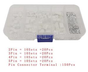 230PCS PH2.0 2Pin 3Pin 4Pin 5Pin Pitch 2.0mm Terminal Socket Kit JST Connector F