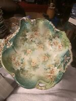 Stunning Rare R S Prussia Green Cabinet Bowl with Winter Florals, Beautiful Bowl