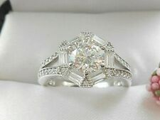 QVC- Diamonique Round and Baguette Sterling Silver Ring SIZE 8