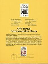 1983 U. S. USPS one Souvenir Page Scott 2053 Civil Service 20 cent stamp