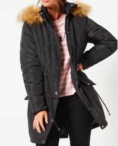New Womens  Studio Parka Coat Black Sz 24 (L5)