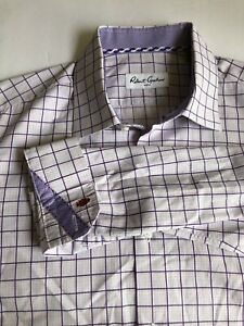 Robert Graham Men's Dress Shirt Purple Windowpane Plaid Long Sleeve 44 Chest
