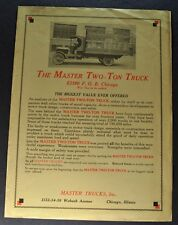 1917-1918 Master 2-Ton Truck Sales Brochure Folder Original