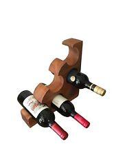 Wine Rack Holder Bottle Wooden Storage 6 Bottles Natural Hardwood Traditional