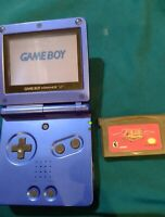 Nintendo Game Boy Advance GBA SP Blue Console AGS-001 Tested With Zelda Repro.