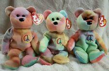 TY Beanie Babies Rare Peace Bears with Tag Errors
