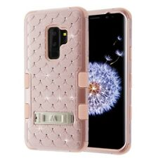FOR SAMSUNG GALAXY S9 PLUS G965 ROSE GOLD PINK TUFF GEM STUDS STAND CASE COVER