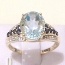 Real Genuine 9K Yellow Gold 4.35ct Sky Blue Topaz, Sapphire Diamond Ring Sz 9