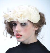 VTG 40s Cream FLORAL Wide Brim Church Fascinator Wedding TILT HAT Races Derby