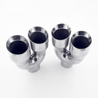 """Pair Quad 4"""" Out Stainless Steel Exhaust Tips 3"""" In 9"""" Long Dual Wall Polished"""