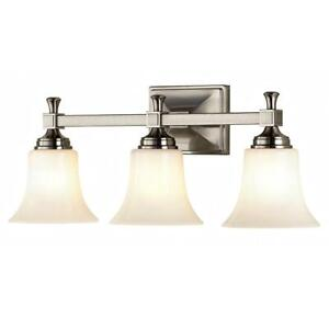 Pearson Heights 3-Light Satin Nickel Vanity Light with Opal Glass Shades by Home