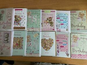 12 x PACK Cute Bear Flowers Happy Birthday Cards 2 Designs per Pack Random