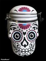 DIA DE LOS MUERTOS  Day of the Dead SUGAR SKULL Ceramic COOKIE JAR CANISTER