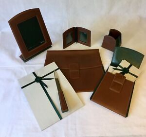 VINTAGE GUCCI LEATHER HUNTING MOTIF 6 PC COLLECTIBLE DESK SET NEVER USED