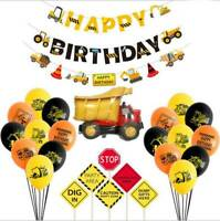 HAPPY BIRTHDAY Banner Construction Truck Theme Pull Flag Birthday Party Deco NEW