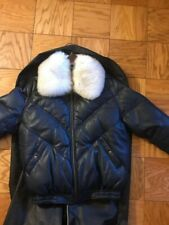 Leather V-bomber jacket navy blue with real black and white removable Fox fur