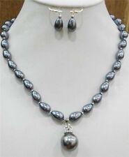 Teardrop DarkGray Shell Pearl 9x13mm Necklace18'' Earring &16mm Pendant JN249