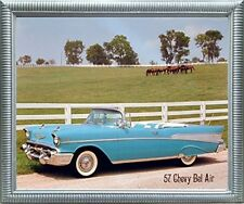 1957 Chevy Bel Air Brad Wagner Vintage Car Wall Decor Silver Framed Art Picture