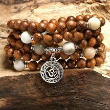 Trendy Zen Jewelry (108 beads) Mala Buddhist Handmade Wooden Pendant Bracelets