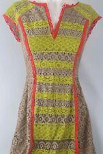 BCBG MAXAZRIA lace Fluro Fitted Tan Dress Sz 6
