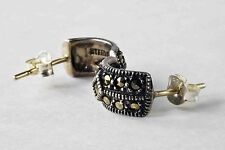 Vintage Judith Jack 925 Sterling Silver Marcasite Semi-Arch Earrings