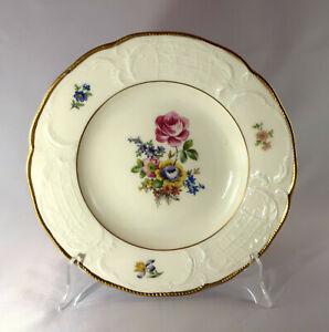 Rosenthal Suppenteller, Sanssouci elfenbein, Deutsche Blume, Goldrand