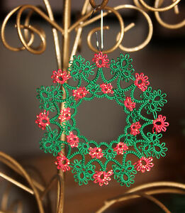 """Tatted WREATH 2013 Christmas ornament, tatting, 3"""" Handmade Lace or CUSTOM Color"""