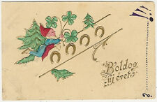 Gnomes, Gnome with a Pine Tree, Clovers and Horseshoes, Old Embossed Postcard
