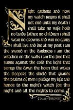 *NEW* Game of Thrones The Night Watch Oath Wall Poster - Season 3