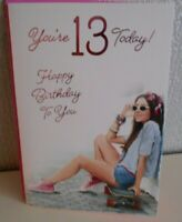 You're 13 today Happy Birthday enjoy your Day card Sat on a Skateboard relaxing