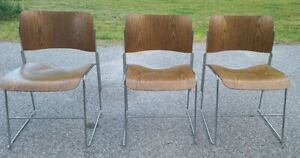 David Rowland Mid-Century Modern Wooden Chair set of 3 40/4 Wood and Chrome MCM