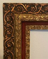 Antique Victorian Ornate Gilt Wood & Gesso Carved Picture Frame - 18 x 22""