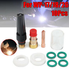 """10pcs TIG Welding Torch Gas Lens Kit 10# Glass Cup Collet For WP-17/18/26 3/32"""""""